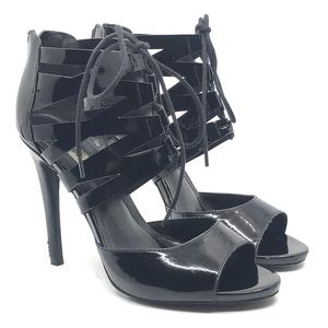 STEVE MADDEN BLACK PATENT LACE UP HIGH HEEL